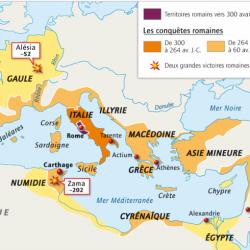 Carte de l'expansion romaine pendant la République