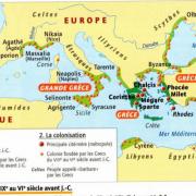 Sur cette carte du monde grec, donnez le nom de plusieurs colonies.